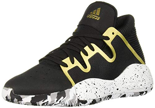 adidas Unisex Pro Vision Basketball Shoe, Black/White/Gold Metallic, 4 M US Big Kid ()