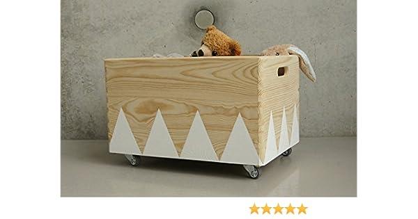 Caja de Juguete de Madera Blanco - Triángulo Escandinavo Rollers ...