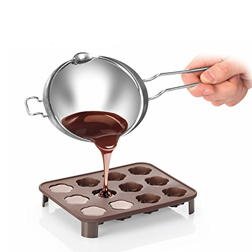 Stainless Steel Universal Melting Pot, Double Boiler Insert, Double Spouts, Heat-resistant Handle, Flat Bottom, Melted Butter Chocolate Cheese Caramel Homemade Mask =380ML