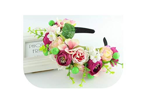 Rose yellow purple wreath boho headband crown headband flower Braided Wedding Garland hair accessories women Floral Crown,as picture