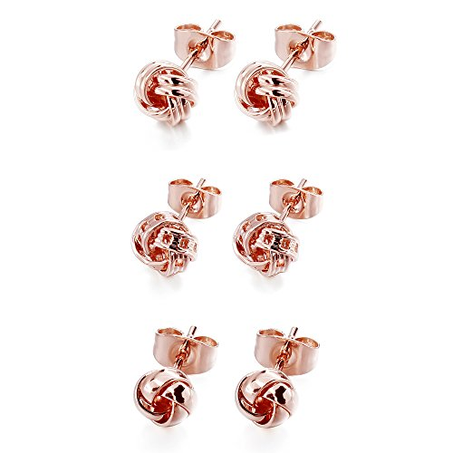 (AMITER Earrings Set for Women and Girls Hypoallergenic Love Knot Ear Studs in Silver and Rose Gold)