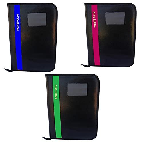 Kopila A4/FS Size 20 Leafs File Folder Combo Set of -3 (Blue Green & Pink)