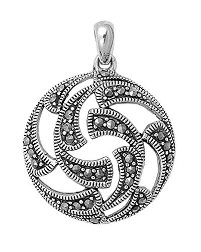 - Pendant Simulated Marcasite .925 Sterling Silver Cutout Charm Jewelry Making Supply Pendant Bracelet DIY Crafting by Wholesale Charms