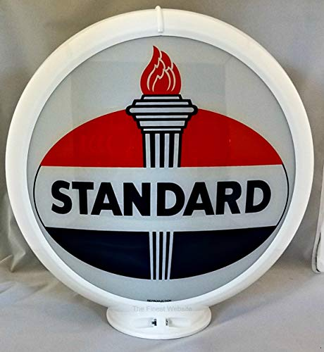 The Finest Website Inc. New Reproduction Standard Oil Gas Pump Globe Already Assembled - White Frame - Ships Free Next Business Day to Lower 48 States