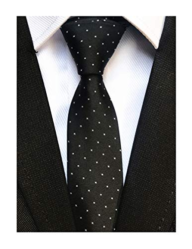 Dots Black Mens Necktie (Men Black Pin Dot Silk Tie Fashion Super Skinny Necktie Business Meetings Events)