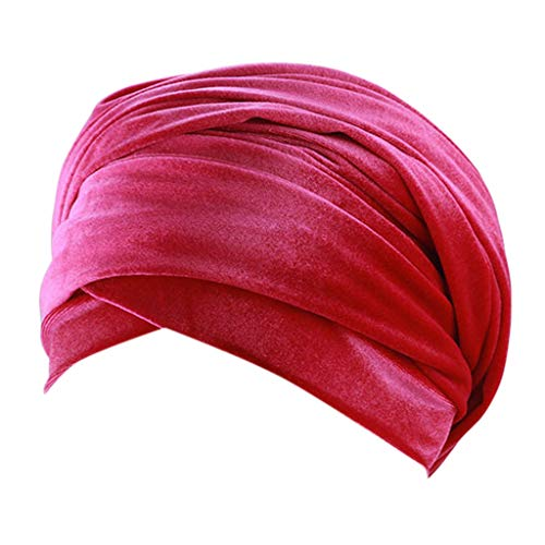 Tomppy Chemo Headwear Turbans for Women Cancer Patient Hair Loss Velvet Muslim Scarf Headwraps Beanie Caps Hot Pink