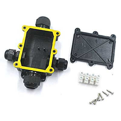 Mergorun Black Plastic Cable Wire Connector Gland Electrical Junction Box with Terminal IP68 Waterproof