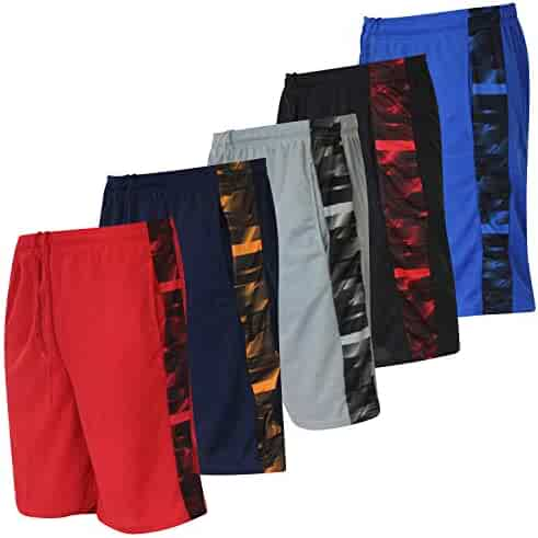 Real Essentials Boys' 5-Pack Mesh Active Athletic Performance Basketball Shorts with Pockets