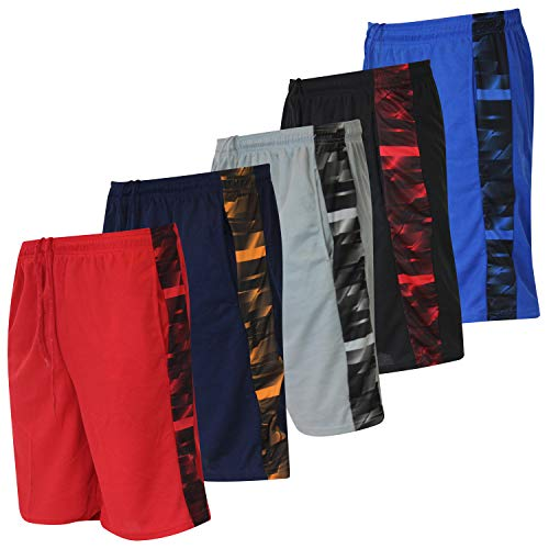 5 Pack: Big Boys Youth Clothing Knit Mesh Active Athletic Performance Basketball Soccer Lacrosse Tennis Exercise Summer Teen Shorts -Set 4- S (6/7)