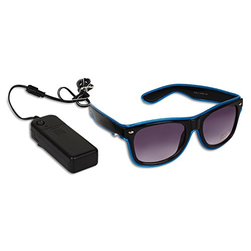 Catchin24 Light Up Illuminated Neon El- Wired LED Flashing Glow Goggles Rave Party Sunglasses With UV Protection - Blue