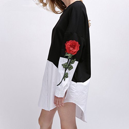 Otoño Fashion Manga Vestido Vestidos Suelta Casual Negro Cuello Vintage Bordadas Flores Larga Redondo Vestidos Cortos De Mujer Camisas Elegantes Camiseros Vestidos Splicing qqwH7r6x