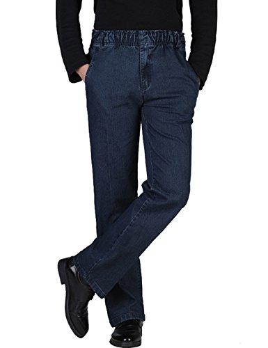(Zoulee Men's Full Elastic Waist Denim Pull On Jeans Straight Trousers Pants Dark Blue 42)