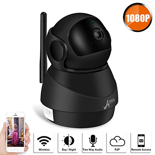 Wireless 1080P IP Camera, ANRAN WiFi Home Security Surveillance HD IP Camera for Pet Baby Monitor, Pan/Tilt, Two-Way Audio Night Vision Motion Detection Indoor Camera with Micro SD Card Slot, 2.4GHz 2 Motion Detection Cameras