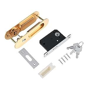Fdit Cerradura de Puerta de aleación de Zinc Cerraduras de Madera Invisible Cerradura de Puerta con 3 Llaves Pestillo Interior para Baño Cocina Balcón(Oro)