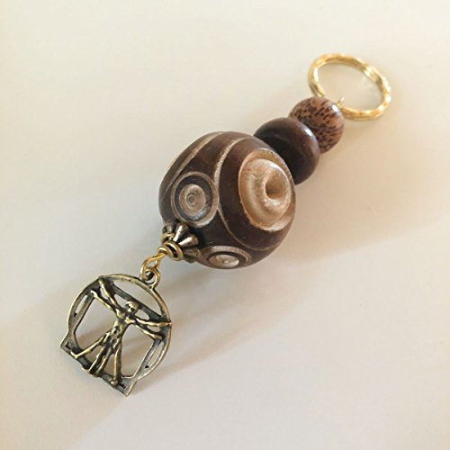 Charm Key Chain, Key Ring, Key Fob - Carved Circle Wood and Mahogany Beads - Gold Hammered Ring - DaVinci Charm - Antique Brass and Gold