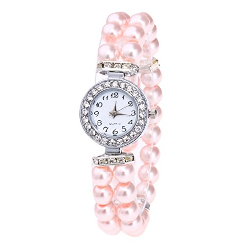 Swyss Girls WristWatch Pearl Beaded Band Quartz Watch Chic Lady Elegant Jewelry for Women Hot Sale (Pink)