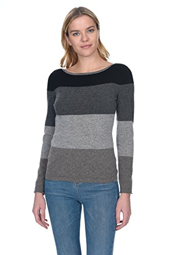 - State Cashmere Women's 100% Pure Cashmere Boat Neck Striped Sweater