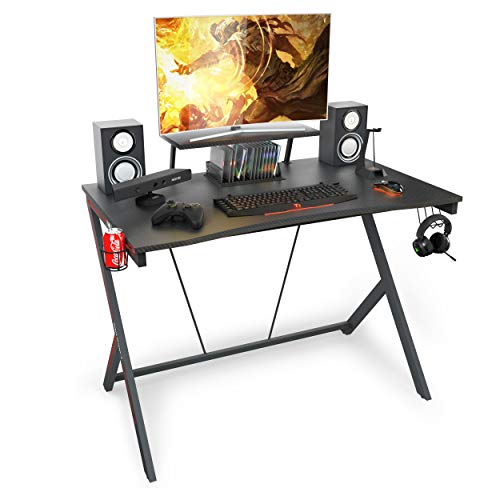 "Gaming Desk 47"" with Monitor Shelf Gaming Table Home Computer Desk with Cup Holder and Headphone Hook Gamer Workstation Game Table (47"" W x 29"