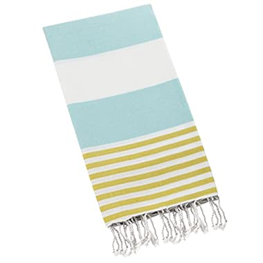 Swan Comfort 100% Cotton Pestemal Turkish Bath Towel, 39  x 70  - Ice Blue - Yellow