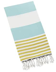 "Swan Comfort 100% Cotton Pestemal Turkish Bath Towel, 39"" x 70"" - Ice Blue - Yellow"