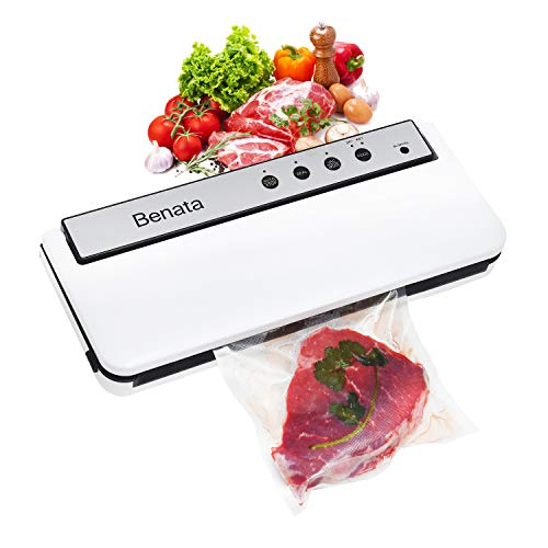 Vacuum Sealer Machine, 60Kpa Automatic Food Sealer for Food Savers, 10 Sealing Bags (FDA-Certified), Dry & Moist Modes, Compact Design (14.6×5.9, White)