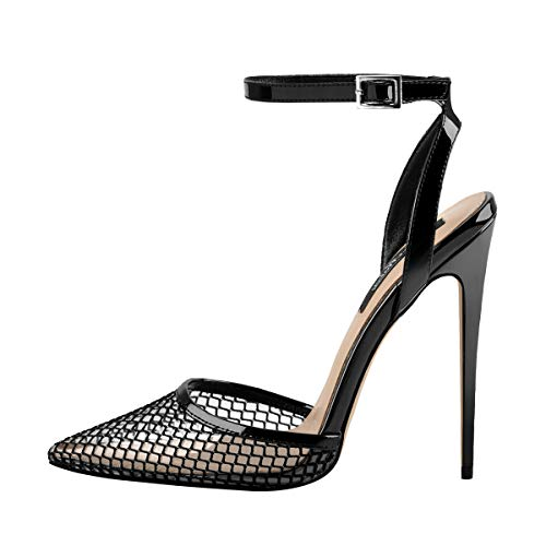 - Onlymaker Women's Ankle Strap Clear Pointed Toe Pumps Cutout High Heel Sandals Black US6