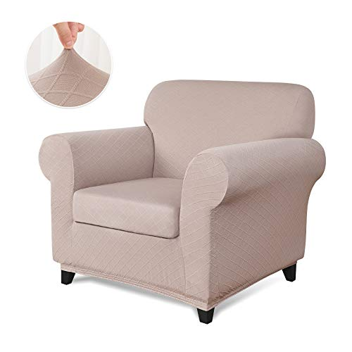 CHUN YI 2-Piece Stretch Polyester and Spandex Rhombus Jacquard Sofa Slipcovers Durable Soft Sofa Cover High Elastic Armchair Slipcover Easy Fitted 1 Seat Couch Cover (Chair, Sand Pink)