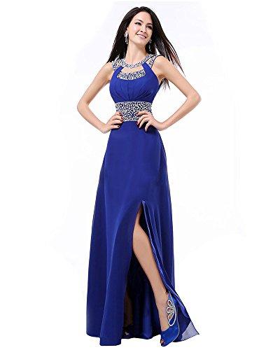 Maxi di MEI abito Party Palla elegante amp;S Donna lungo sera abito Blue Royal rugiada indietro Vintage Prom HrPq0OHw