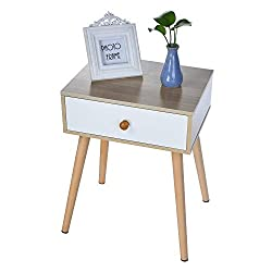 Wood End Tables Night Stand Side Table Storage Cabinet with Single Drawer for Bedroom, Modern Furniture Decor Side Table Sofa Accent Furniture for Living Room Home