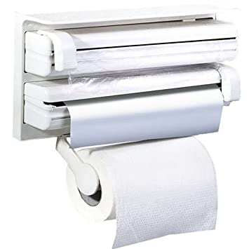 Takestop® – Dispensador portarrollos triple, de pared, para cocina, de plástico, ideal para papel de horno, de aluminio o papel: Amazon.es: Hogar