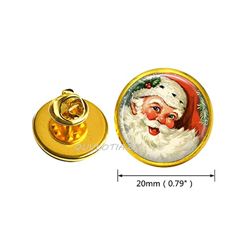 QUVLOTIAZJ Christmas Brooch Santa Pin Wearable Art Santa Brooch,photo Pin art Pin photo jewelry art jewelry glass jewelry,ot226 (A2)