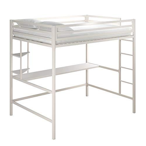 Novogratz Maxwell Metal Full Loft Desk & Shelves, White Bunk Beds,