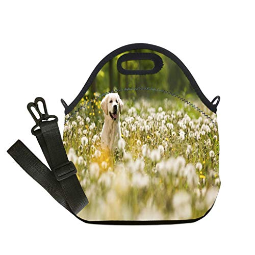 Custom Digital Printing Insulated Lunch Bag,Neoprene Lunch Tote Bags Portrait of golden retriever frolicking in field of flowers custom Stylish Lunch Bag, Multi-use for Men, Women and Kids