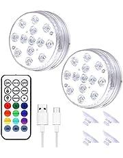 Yujue Luzes subaquáticas para piscinas, luzes LED submersíveis recarregáveis por USB, luz subaquática com controle remoto RF, ímã, ventosas para piscinas, aquários, decoração de casa e iluminação