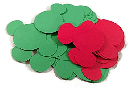 Green Red Christmas Assorted Mickey Mouse Head Shape Die Cuts