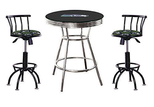3 Piece Black Pub/Bar Table Set with a Glass Top and 2-24