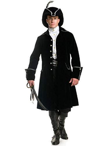 Jacket John Pirate Silver Long (OvedcRay Adult Mens Colonial Pirate Captain Costume Long Coat Jacket Distinguished)
