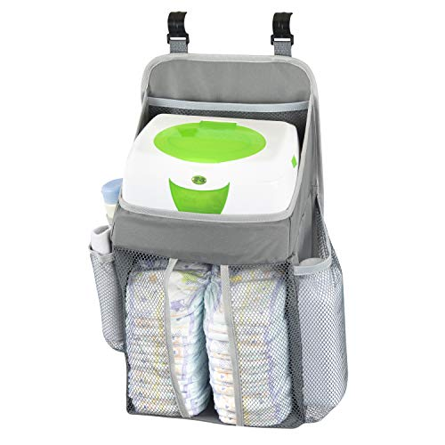 Hanging Baby Diaper Caddy Organizer - Hang On Door, Crib Or Infant Changing Table - Nursery Station Basket For Diapers, Wet Wipes, Clothes Storage - Waterproof & Stylish - Unisex Grey For Boys & Girls ()
