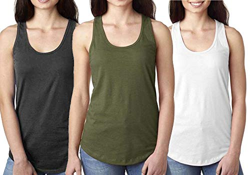 Epic MMA Gear Fitness Tank Top, Workout Tanks, Racerback Bundle of 3 (M, Army/Grey/Whte)