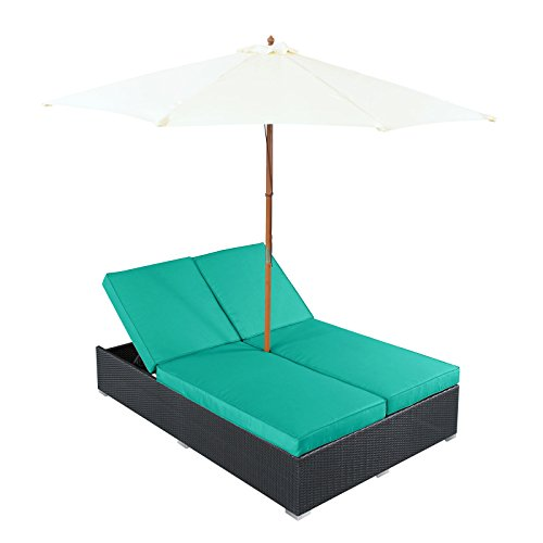 Modway Arrival Outdoor Wicker Rattan Patio Dual Chaise Lounges with Espresso Turquoise Sun Shade (Dual Chaise Lounge)