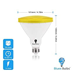 Par38 Amber Yellow LED Bug Light Bulb E26 Flood Light Bulb - 10W 100W Equivalent, Warm Bug-Free Lighting for Home, Porch, Yard, Indoor Outdoor, Patio, Holiday, Party Bulb, Insect Repellent