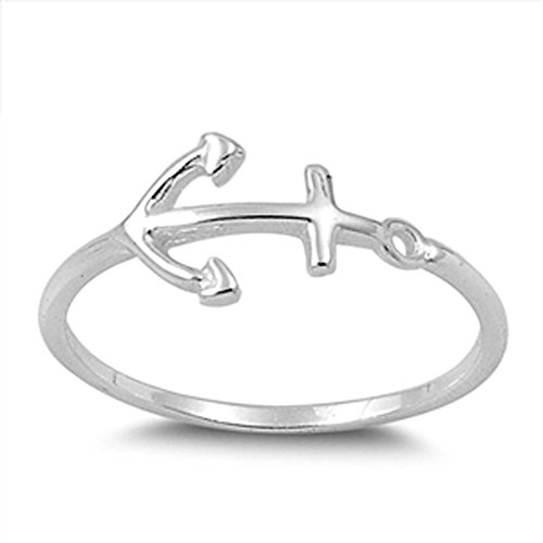 Women's Anchor Fashion Beautiful Ring New .925 Sterling Silver Band Size ()