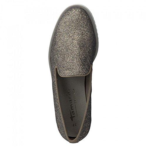 Tamaris TREND Ladies Slipper 1-24702-26-970 Platinum Glam / brown Braun 1JSAfTd