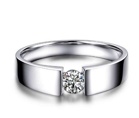 Gowe 0,30CT Certifié VS/I-j/VG Diamant pour homme Bague de fiançailles Round Cut Or blanc 18K Bijoux