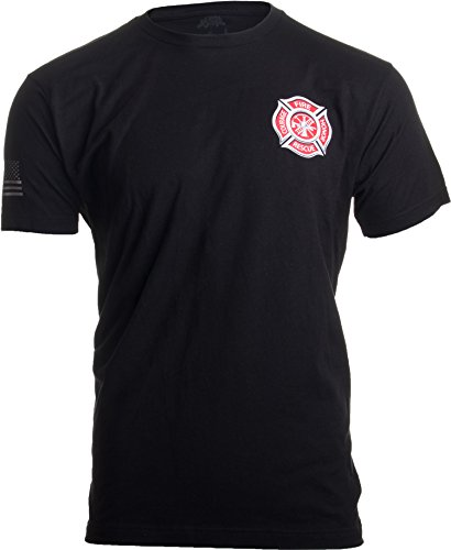 Firefighter Maltese Cross | Fire Fighter Rescue Courage Honor Red Line T-Shirt-(Black,L) - Mens Firefighter L/s Shirt