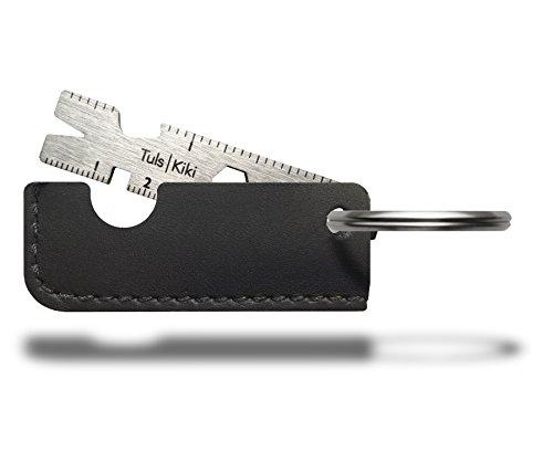 Black Laser Etched Steel Ring (Onehundred 100.07.02.02 Kiki Titanium Key Ring Multi-tool, Black Leather)