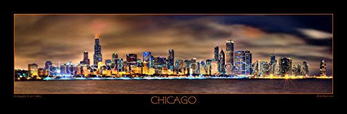 Chicago Skyline PHOTO PRINT UNFRAMED NIGHT Color BORDER or NO BORDER OPTION 11.75 inches x 36 inches Photographic Panorama Poster Picture Standard Size (Chicago Skyline Wall Art)