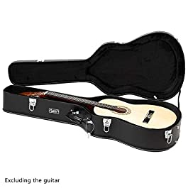 GLARRY 39″ Classical Acoustic Guitar Hard Case Microgroove Protective Flat Case with Lock Latch Keys (Black)