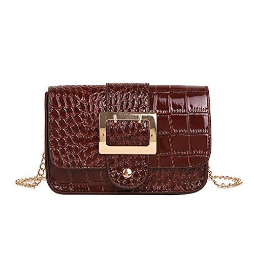 Rakkiss Womens Crossbody Bag Pin Buckle Stone Pattern Messenger Bag Fashion Patent Leather Chain Bag Shoulder Bag Tote Bucket
