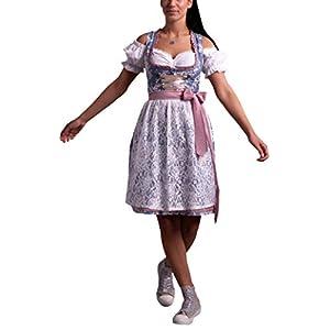 41KsRHHdb%2BL. SS300  - Golden-Trachten-Kleid-Dirndl-Damen-3-TLG-Midi-fr-Oktoberfest-mit-Schrze-und-Bluse-Fernblau-geblmt-536GT